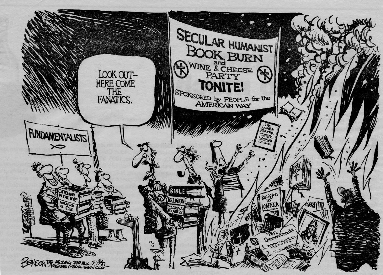 Cartoon of the Secular Humanist's Book Burning Party