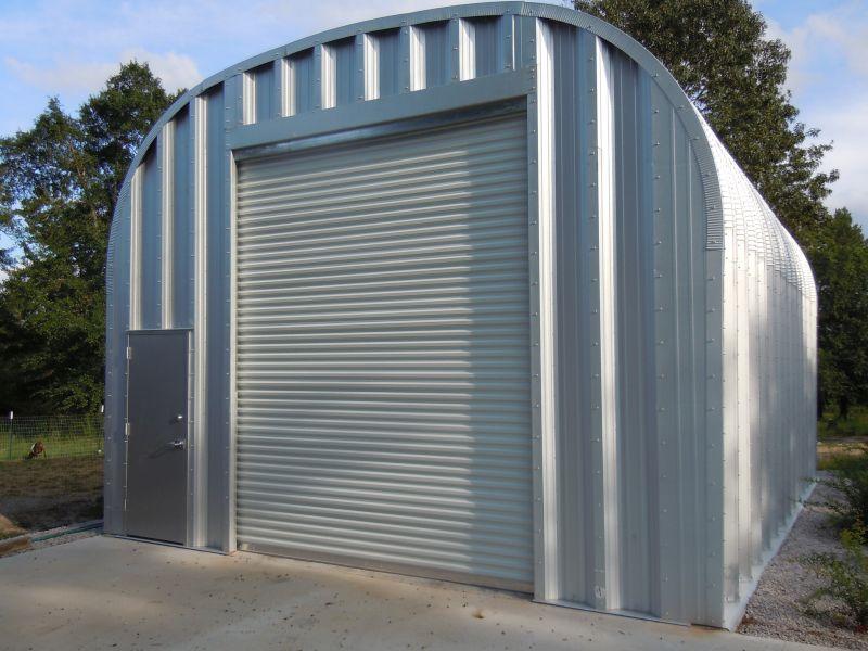 Front view of steel garage.
