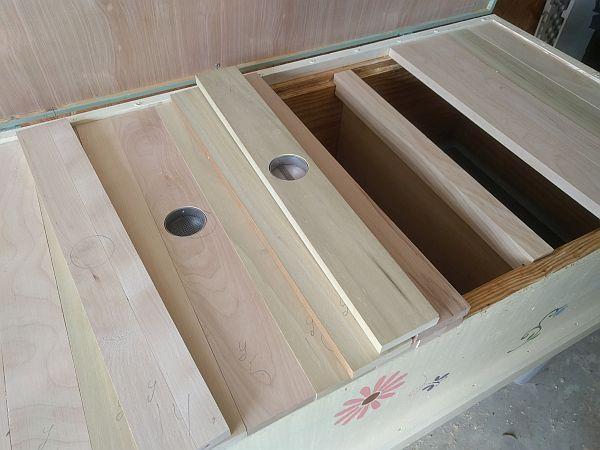Nest top slats and follower board