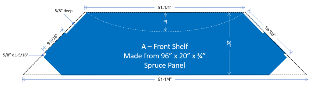 Desktop front shelf drawing with dimensions