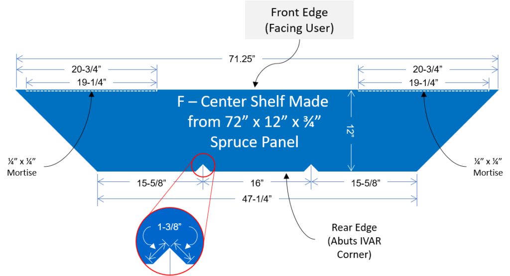 Monitor center shelf drawing with dimensions