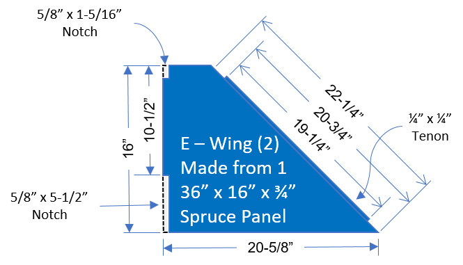 Monitor shelf wing drawign with dimensions