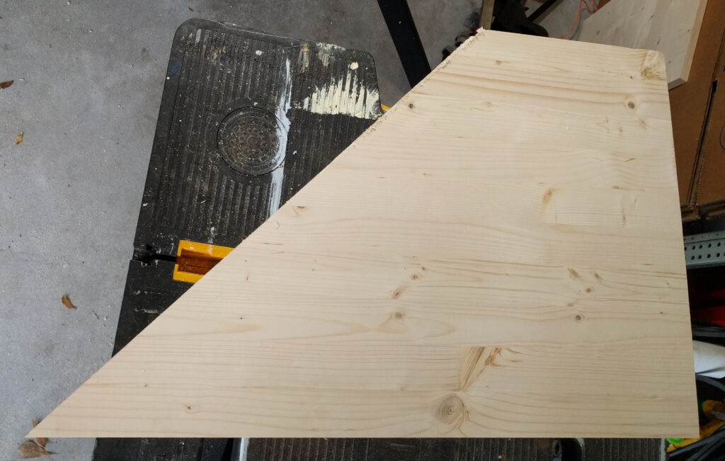 Monitor shelf wing first cut
