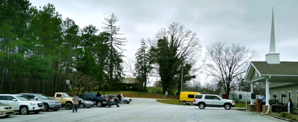 Mt. Freedom Baptist Church Gathered for Worship in the Church Building Parking Lot