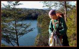Sue hiking along Lake Keowee