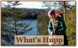 Sue hiking along Lake Kewee with What's Hupp text