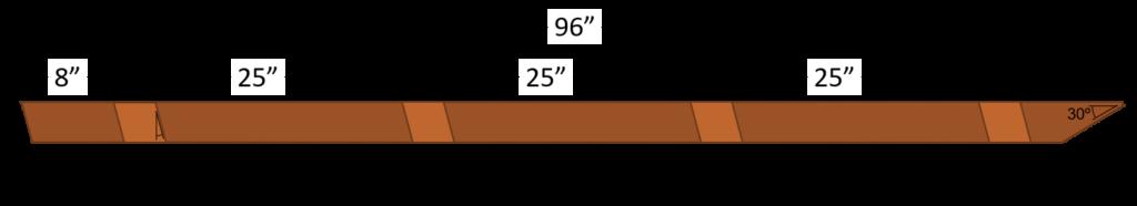 A-frame leg dimensions.