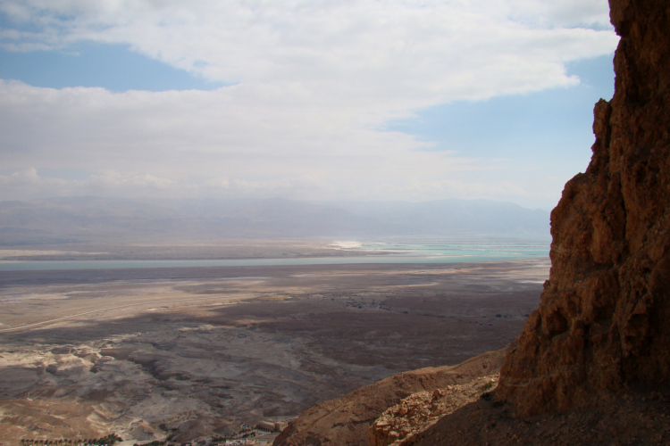 View from half-way up the cliff at Masada SE across the Dead Sea toward Mt. Nebo.