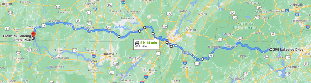 Strip map - Lakeside Drive Mountain Rest, SC to Pickwick Landing State Park, TN