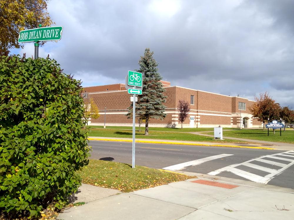 Hibbing High School on Bob Dylan Drive in Hibbing, MN