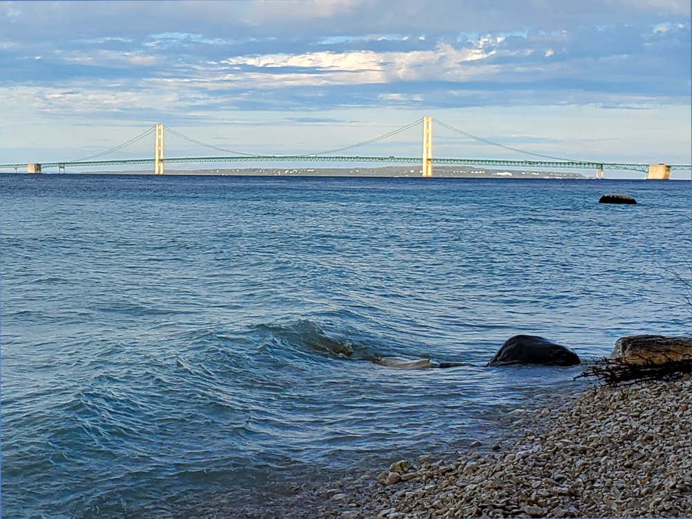 Mackinac Bridge from Lake Michigan Shore at McGulpin Point