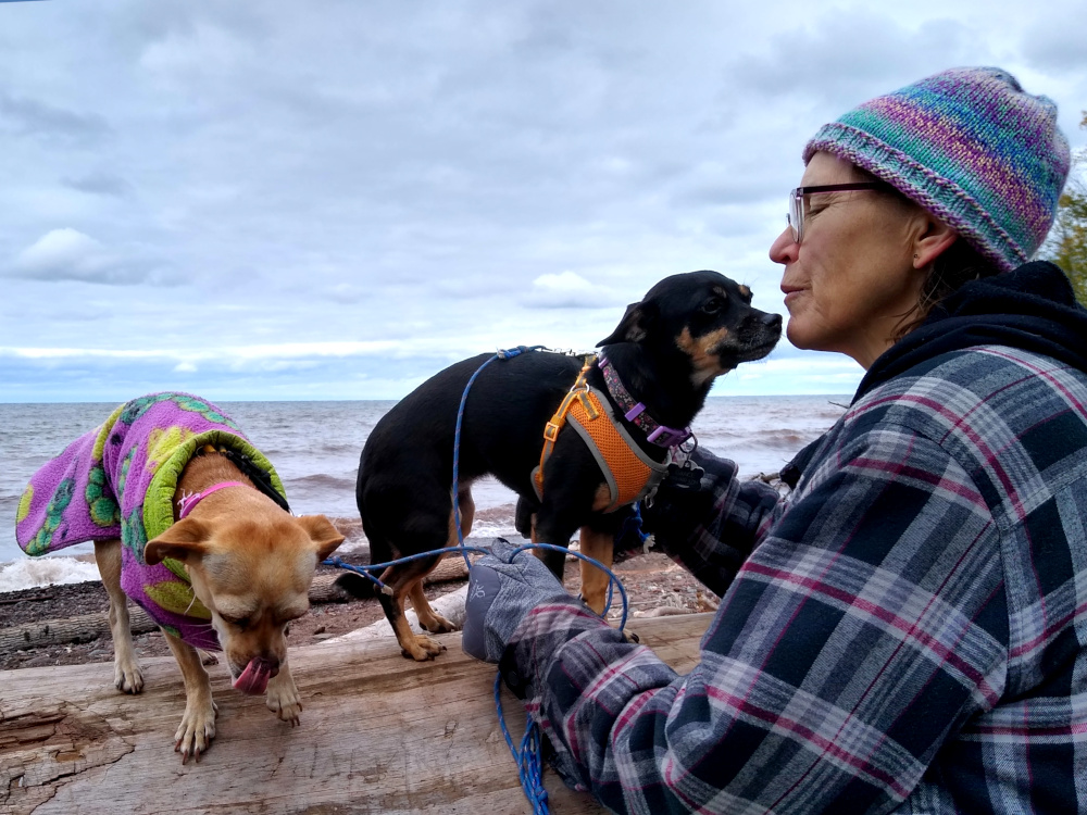 Sue and Doggies at Lake Superior Shore - Porcupine Mountain Wilderness
