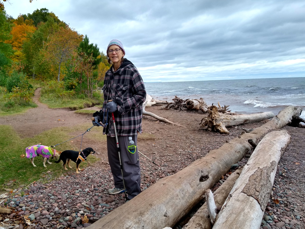 Sue at Lake Superior Shore in Porcupine Mountain Wilderness